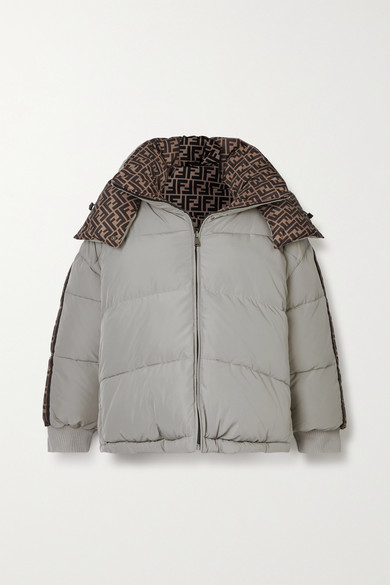 Fendi Reversible Hooded Printed Quilted Shell Down Jacket - Light gray