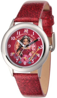 Disney Elena of Avalor Girls' Stainless Steel Time Teacher Watch, Red Glitter Leather Strap