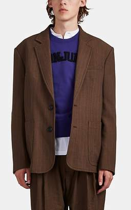 Wales Bonner Men's Leather-Trimmed Oversized Plaid Two-Button Sportcoat - Brown