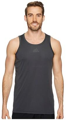 adidas Heathered 3G Tank (Dark Grey Heather Solid/Black) Men's Sleeveless