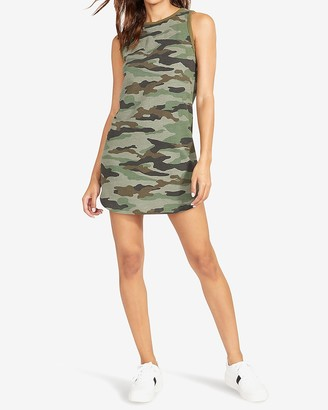 Express Bb Dakota Sleeveless Knit Camo Mini Dress