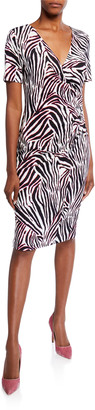 Escada Zebra-Striped Jersey Wrap Dress