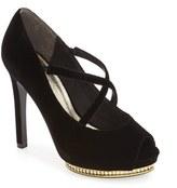 Adrianna Papell Women's 'Golda' Peep Toe Crystal Embellished Platform Pump