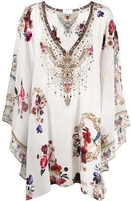 Camilla Embroidered Oversized Silk Blouse
