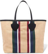 Burberry Leather-trimmed Striped Cotton-canvas Tote - Sand