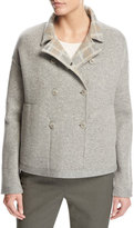 Loro Piana Leroy Reversible Plaid Mé;lange Flannel Double-Breasted Jacket, Beige
