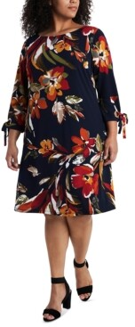 MSK Plus Size Floral-Print Tie-Sleeve Dress