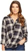 Blank NYC Multi Plaid Drape Front Shirt in Black Watch Women's T Shirt