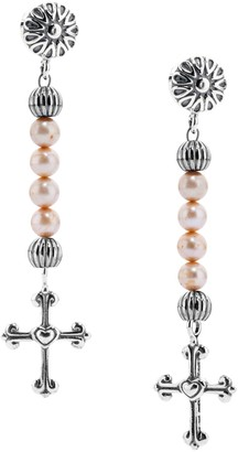 American West Sterling Pearl Cross Drop Earrings