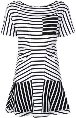 Derek Lam 10 Crosby Striped Short Sleeve Crewneck Dress with Flared Skirt