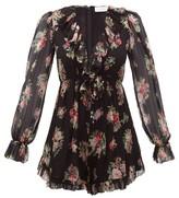 Zimmermann Honour Floral Print Silk Chiffon Playsuit - Womens - Black $595  at MATCHESFASHION COM