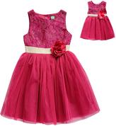 Dollie & Me Fuchsia & Gold Floral Sleeveless Dress & Doll Dress - Girls