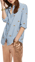 Scotch & Soda Long Sleeve Button Up Shirt With Allover Embroideries