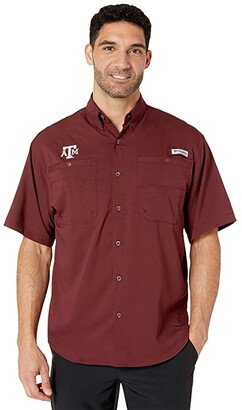Columbia College Texas AM Aggies Collegiate Tamiamitm II Short Sleeve Shirt (Maroon) Men's Short Sleeve Button Up