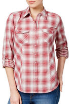 Style And Co. Petite Mixed-Plaid Cotton Shirt