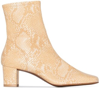 BY FAR Sofia 50mm snake-effect ankle boots