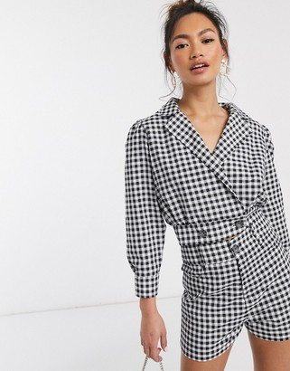 In The Style excluisve cropped blazer jacket co ord in mono check
