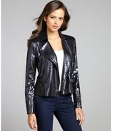 Walter navy sequin and faux leather 'Ronnie' asymmetrical zip jacket