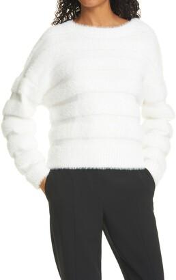 Milly Fuzzy Stripe Knit Sweater