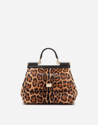 Dolce & Gabbana Large Sicily Bag In Leopard-Print Pony Hair