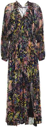 IRO Ramona Ruffle-trimmed Printed Metallic Crepon Midi Dress