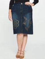 ELOQUII Plus Size Studio Denim Studded Skirt