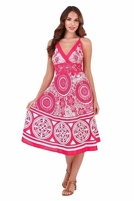 Pistachio Ladies Womens 100% Cotton Circle Print Strappy Mid Length Summer Dress With Crossover V Neck