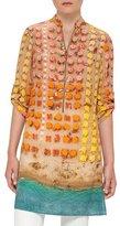 Akris Punto Riviera-Print Zip Silk Tunic, Multi