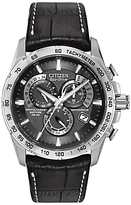 Citizen At4000-02e Perpetual Chronograph Leather Strap Watch, Black