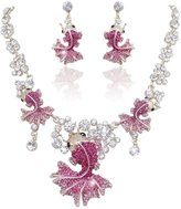 Ever Faith Lovely Carp Pink Austrian Crystal Necklace Earrings Set Gold-Tone N03185-1