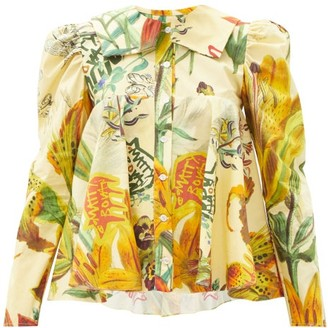 Matty Bovan - Dolly Floral And Logo-print Cotton-poplin Blouse - Yellow Multi