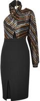 Haney - Victoria Metallic Striped Silk-blend Lamé And Crepe Dress - Black