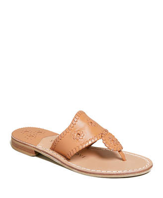 Jack Rogers Jacks Whipstitched Leather Slide Sandals