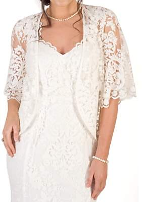 chesca Chesca Scallop Sleeve Lace Shrug, Ivory