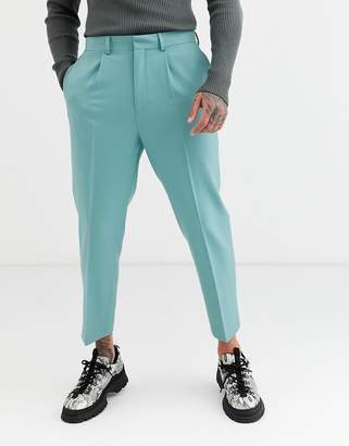 Asos Design DESIGN heavyweight tapered crop smart trousers with pleats in turquoise-Blue