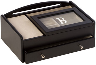Bey-Berk Matte Black Wood Valet Box Features A Storage Compartment