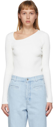 Loewe White Asymmetric Collar Sweater