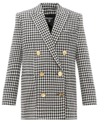 Balmain Double-breasted Houndstooth Wool-blend Jacket - Black White