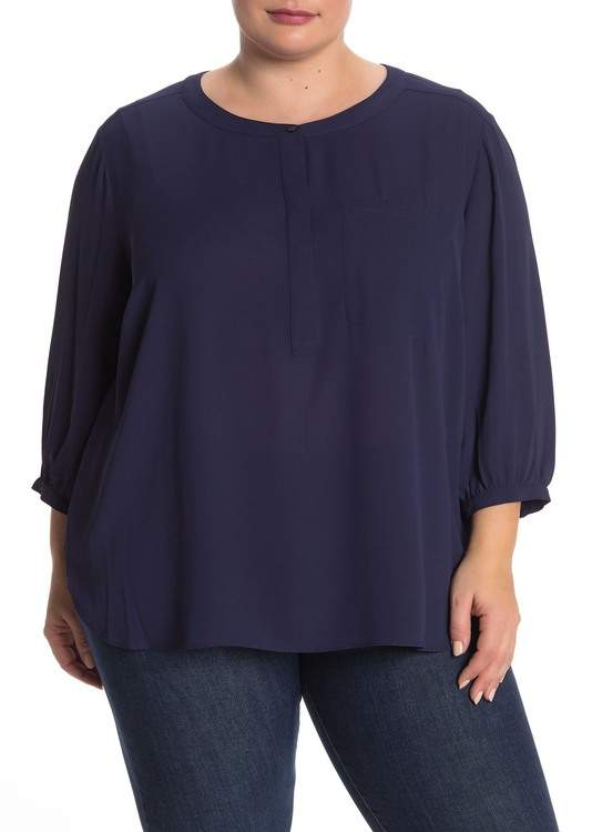 NYDJ 3/4 Sleeve Henley Top (Plus Size)
