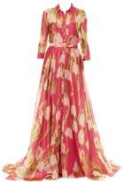 Carolina Herrera Floral Silk Trench Gown