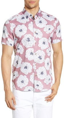 Ted Baker Leave Slim Fit Flower Print Short Sleeve Button-Down Shirt