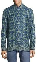 Versace Printed Silk Button-Down Shirt
