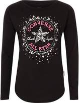 Converse River Island Girls Black sequin print T-shirt