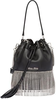 Miu Miu Embellished Fringed Bucket Bag