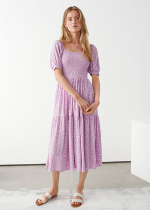 And other stories Puff Sleeve Smock Maxi Dress
