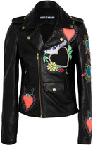 House of Holland Appliquéd Leather Biker Jacket - Black