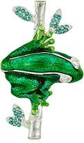 Napier Silver-Tone and Green Boxed Frog Brooches and Pin