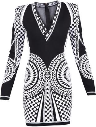 Balmain Viscose Blend Jacquard Dress