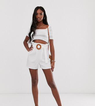 Asos Tall ASOS DESIGN Tall clean crepe short with rattan belt buckle