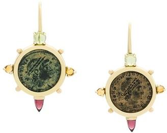 Dubini Empress Coin Cross 18kt gold earrings